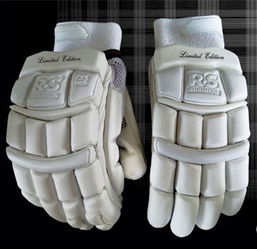 White /& Gold Cricket Batting Gloves Leather Paded Extra Protection Soft Leather